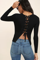 LuLu*s Aced It Black Lace-Up Top