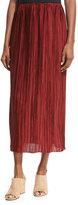 The Row Juri Pleated Silk Midi Skirt, Dark Red