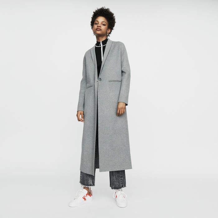 Maje Long coat in double-faced wool