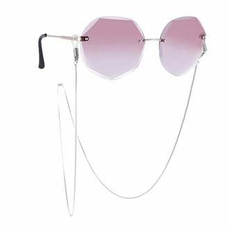 LIKGREAT Box Chain Reading Glasses Holder Chains Lanyards Eyeglasses Strap Eyewear Cord Rope Strap Sunglasses Chain for Women Silver Size: 31.50inch