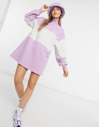 Bershka striped zip front sweater dress in purple