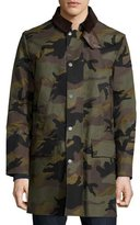 Valentino Snap-Front Camouflage Long Coat, Army