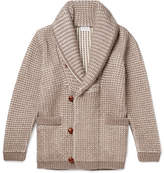 Brioni Shawl-Collar Waffle-Knit Cotton, Wool And Cashmere-Blend Cardigan