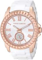 Vince Camuto Women's VC/5190RGWT Rose Gold-Tone Watch with White Ceramic Bracelet