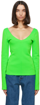 Kwaidan Editions Green Jersey V-Neck Sweater