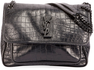 Saint Laurent Niki Medium Monogram Crocodile-Embossed Chain Shoulder Bag