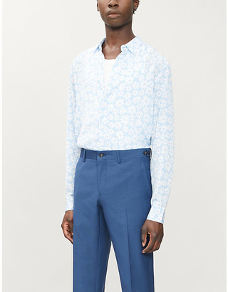 Sandro Flower relaxed-fit floral-pattern woven shirt