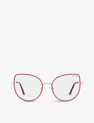 Tom Ford FT5614-B irregular-frame metal optical glasses