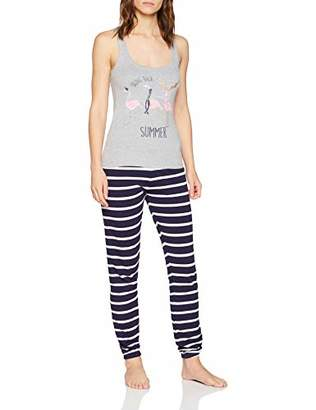 Boux Avenue Women's Winter Flamingo Vest & Jogger Pyjama Sets, Blue Navy, (Size: )