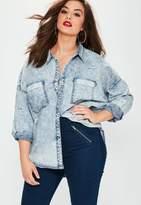Missguided Plus Size Blue Denim Shirt, Blue