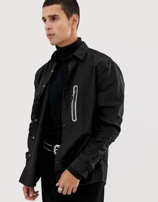Asos Design DESIGN overshirt in lightweight nylon with metallic detail-Black