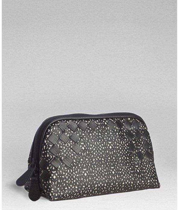 Bottega Veneta black plaster micropizzo intrecciato leather cosmetics pouch
