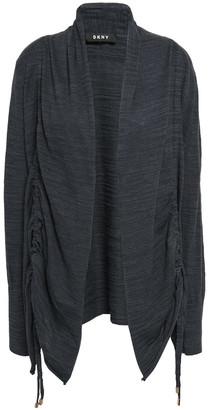 DKNY Ruched Melange Cotton-blend Cardigan