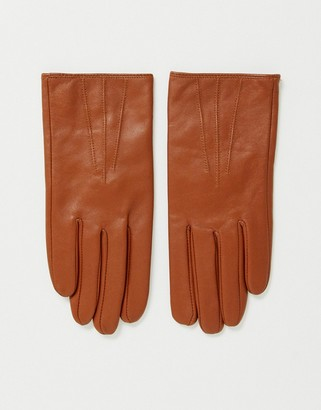 ASOS DESIGN leather touch screen tan gloves