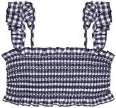Tory Burch GINGHAM COSTA RUFFLE TOP