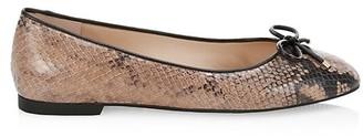 Stuart Weitzman Gabby Snakeskin-Embossed Leather Ballet Flats