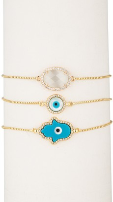 Eye Candy Los Angeles 18K Gold Plated CZ Trim Hamsa Evil Eye Bracelet - Set of 3