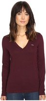 Lacoste Long Sleeve Cotton Jersey V-Neck Tee Shirt