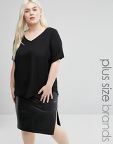 Koko Plus V-Neck Top With PU Contrast