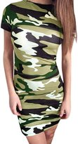 uxcell® Women Camouflage Pattern Short Sleeve Sheath Dress Multi M