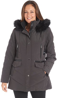 Fleet Street Women's Faux-Fur Hood Quilted Puffer Jacket