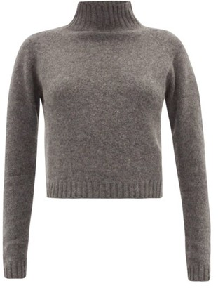 The Elder Statesman Highland Cropped Cashmere Sweater - Grey
