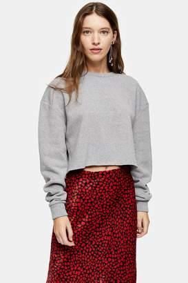 Topshop Grey Marl Soft Crop Sweatshirt