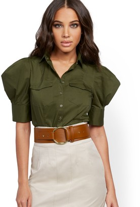 New York & Co. Petite Olive Puff-Sleeve Poplin Shirt
