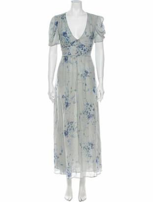 LoveShackFancy Silk Long Dress Blue