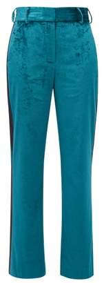 Sies Marjan Sonya Side-stripe Velvet Trousers - Womens - Green