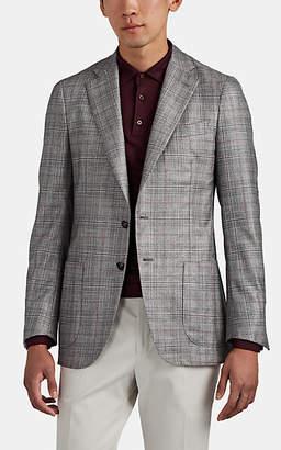 Isaia Men's Dustin Plaid Silk-Cashmere Two-Button Sportcoat - Light, Pastel gray