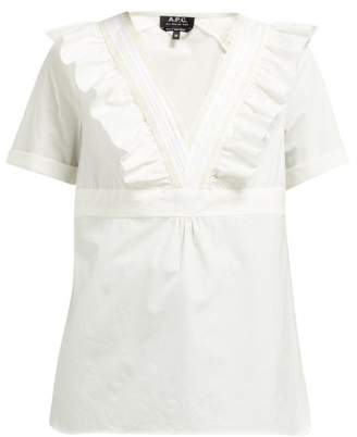 A.P.C. Erwin Ruffled V Neck Cotton Top - Womens - White