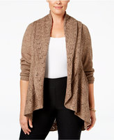 Karen Scott Plus Size Pointelle Open-Front Cardigan, Only at Macy's