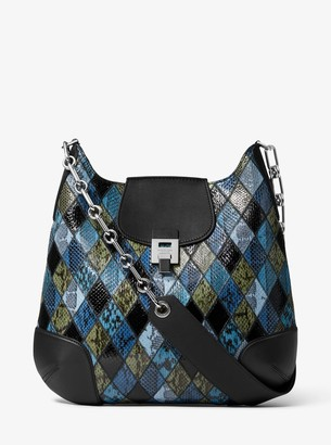 Michael Kors Bancroft Oversized Patchwork Snakeskin Shoulder Bag