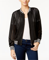 Amy Byer Juniors' Laser-Cutout Bomber Jacket