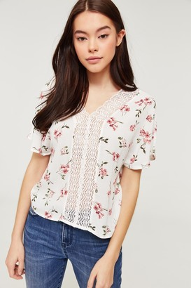 Ardene Floral Tee with Lace