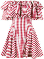 House of Holland gingham off shoulder dress - women - Cotton/Polyester - 14