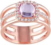 Kohl's Amethyst & White Topaz Sterling Silver Triple Row Halo Ring
