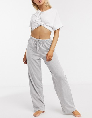 ASOS DESIGN mix & match straight leg jersey pyjama pants in grey marl