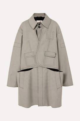 Maison Margiela Oversized Layered Checked Wool And Cotton-blend Coat - Beige
