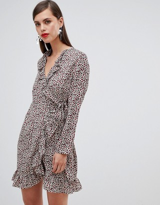 UNIQUE21 Unique 21 leopard print long sleeve wrap dress with frill