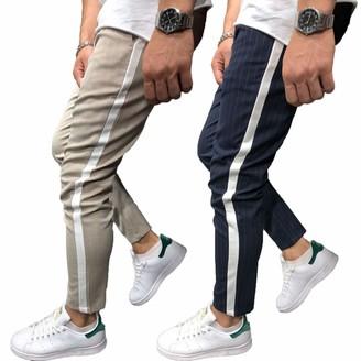 Men Slim Fit Strip Tracksuit Trousers Bottom Zip Joggers Sports Soft Pants Slack