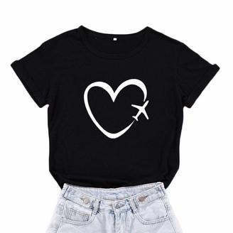 Mikialong Travel Plane Heart Love Graphic Tees Women Cotton Short Sleeve Women T Shirt Top (Black Small)