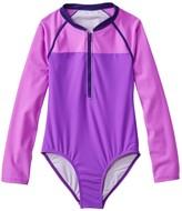 L.L. Bean L.L.Bean Girls' Watersports Swimsuit II, One-Piece, Long-Sleeve Colorblock