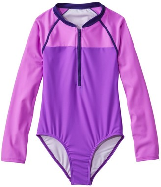 L.L. Bean Girls' Watersports Swimsuit II, One-Piece, Long-Sleeve Colorblock