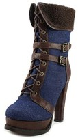 Luichiny Short Cut Women Round Toe Canvas Brown Mid Calf Boot.