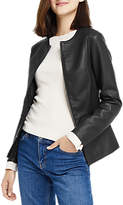 Oasis Faux Leather Collarless Jacket, Black