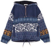 See by Chloe Jacquard-paneled Denim Hooded Top - Navy