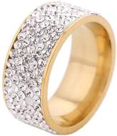 Tuji Jewelry Gorgeous Womens 5 Rows Clear Crystal Goden Wedding Band Ring 8mm Width