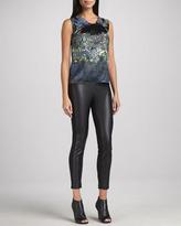 T Tahari Marlie Faux-Leather-Panel Pants